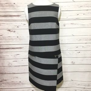 Banana Republic Gray/Black Striped Sheath Dress